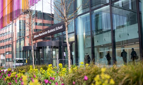 A photograph of the Alliance Manchester Business School main entrance.