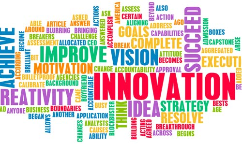 A word cloud based around the word 'innovation'