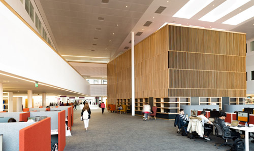 A photo of the Hive and the library in the Alliance Manchester Business School.